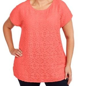 d906e94a448 Faded Glory Tops | Womens Coral Lace Front Short Sleeve Tee Shirt ...